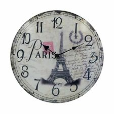 Home Decor Silent Round Wooden Wall Clocks Vintage Bedroom Bathroom French 12""