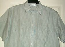 "M&S St.Micheal Gents Short Sleeved Shirt in Blue / Brown Stripes Size 16"" Collar"