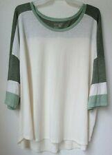 5X Terra & Sky Short Sleeve Color Block Baseball Tee Women's Plus Size 32W-34W