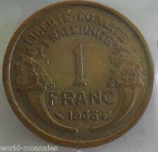 1 franc morlon 1938 : TTB : pièce de monnaie française