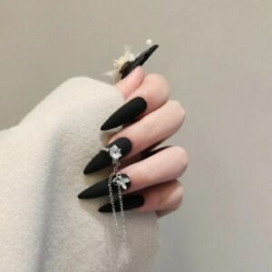 Gothic Matte Black Fake Nails with 3D Rhinestones Chain Stiletto Press On Nails