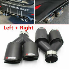 "2Pcs Universal ID:2.5"" OD:3.5"" Akrapovic Carbon Fiber Exhaust Tip Dual End Pipes"