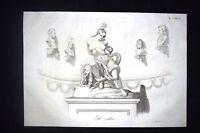 Incisione d'allegoria e satira Scontri Romagna,Bologna,Pio IX Don Pirlone 1851