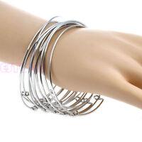 10 Pcs Women's Silvery Adjustable Wire Wrapped Expandable Bangle Wrist Bracelet