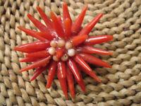 Spilla Fiore di Corallo Rosso Naturale su Madreperla del'900 Antica Originale