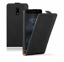 SLIM BLACK Leather Nokia 6 (+2 FILMS) Flip Case Cover Pouch