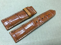 22mm/20mm Genuine Alligator Crocodile Leather Skin Watch Strap Band,Cognac