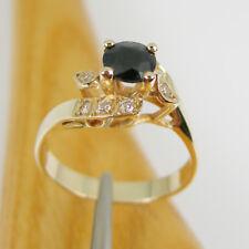 Round Natural Australian Sapphire Engagement Ring Genuine 375 9k 9ct Yellow Gold