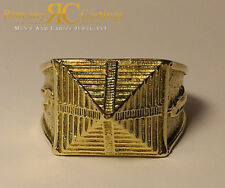 925 Silver Highly Polished Pyramid Ring Dipped in 9ct Gold Size 21g Any size