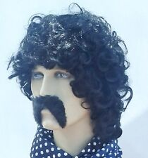 Curly Men's Black  Fancy Dress Wig & Thick Black Droop Moustache