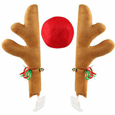 Rudolph Car Costume Christmas Reindeer Antlers & Red Nose for Truck SUV Decor