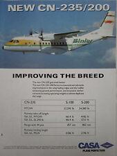9/1992 PUB AVION CASA CN-235/200 AIRCRAFT BINTER MEDITERRANEO ORIGINAL AD
