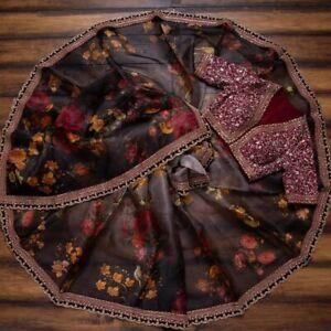 Organza Floral Designer Work Saree Indian Wedding Satin Banglory Silk Saree Sari