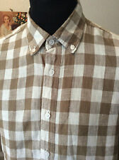 """Cotton Traders all linen brown check buttoned collar l/sleeve summer shirt M 40"""""""