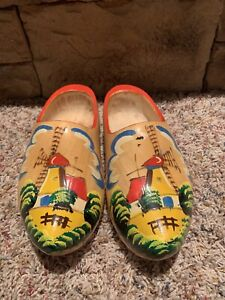 HOLLAND WOODEN SHOES Dutch Clogs Vintage Windmill Painted Wood Netherlands Decor