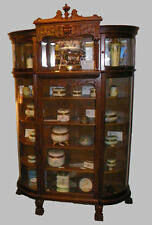 Antique Victorian Oak China Curio Cabinet – claw feet - Canopy