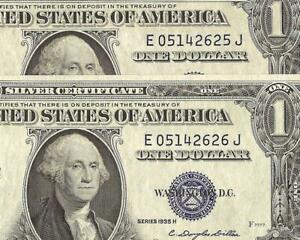 2 CONS 1935H $1 DOLLAR SILVER CERTIFICATE NOTES BLUE SEAL CURRENCY MONEY Fr 1618
