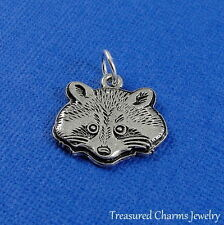 Silver RACCOON FACE Wildlife Wild Animal CHARM PENDANT *NEW*