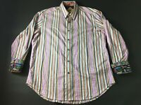 Robert Graham Mens Colorful Vertical Striped Button Front Shirt Size Large