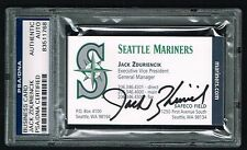 Jack Zduriencik signed autograph auto Business Card Seattle GM PSA Slabbed