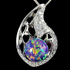 Cz .925 Silver Heart Pendant necklace Alducchi Lavender Rainbow Fire Lab Opal-