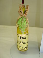 WINE IS MUSIC TO THE SOUL*White Wine Bottle*Grapes*Holiday Ornament*FREE SHIP*