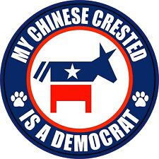 "My Chinese Crested A Democrat 5"" Dog Political Sticker"