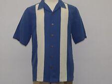 Men Silk 2 tone Shirt Beyond Paradise short Sleeve Charlie Sheen Look 3006 Navy