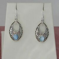 Sterling silver drop shape intricate design earrings Blue MOP inset 925 Sterling