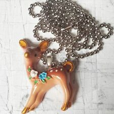 Unique VINTAGE STYLE DEER NECKLACE retro 50s 60s FAWN animal CUTEsweet GIFT