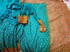 Saree Sari Teal Mustard Mirror Work Diwali Eid Wedding