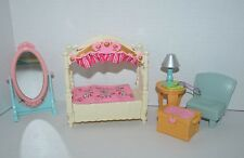 Fisher Price Loving Family Girls Bedroom Canopy Bed Trunk Table Mirror 5pc Lot