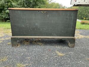 1790s chippendale bracket foot blanket chest green paint lancaster pa area