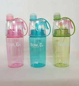 2 in 1 Trinkflasche Sportflasche mit Sprühfunktion 400ml Radfahren Wandern Sport
