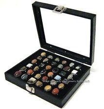 1 Wholesale Glass Top Lid Black 36 Ring Display Portable Sales Storage Box Case