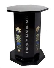 """18""""H 15"""" Dia Black Marble Stand Table Top Base Multi Floral Inlaid E547(1)"""