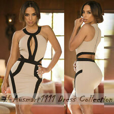 Sexy Bodycon Contrast Cutout Sleeveless Evening Party Clubwear Short Mini Dress