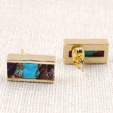 Natural Amethyst Mojave Turquoise Bar Shape Yellow Gold Plated Stud Earrings Her