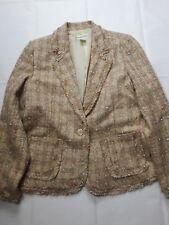 Women's Carlucci Tweed Blazer Jacket Tan Pink - Size L =
