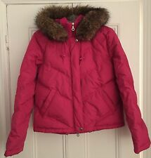 Authentic DKNY Donna Karan New York Active hot pink jacket faux fur trim M down