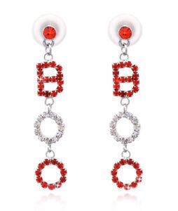 BOO Orange Clear Crystal Dangle Charm Post Earrings Halloween Costume Jewelry
