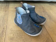 CLARKS BOOTS SHOES Baby Boys Grey Leather Dinosaur 5F - VGC