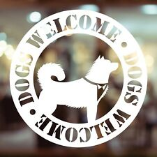 DOGS WELCOME Small White Vinyl Window Decal 100mm x 100mm Pub, Restaurant, Cafe