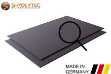 ASA / ABS Kunststoff Platte Platten Schwarz | GENARBT | 100x49 cm | 2mm und 4mm