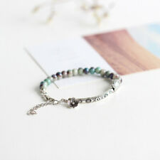 Female Bracelet Leather Ceramic Knitted Beads Chain Charm Casual Trinket C