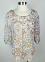 LC Lauren Conrad Women's Medium Semi Sheer Damask Long Sleeve Peasant Shirt Top