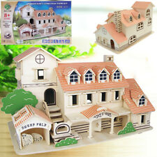 Woodcraft Construction Kit Doll House Room 3D Wooden Vacation Home Kids Toy Gift