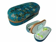 Eyeglasses Contact Lens Case Dual Hard Case Holder Storage 2 in 1 Floral Design