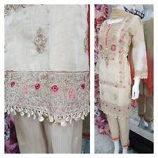 Beige elegant lace Asian Ready Made Salwar pakistani shalwar kameez