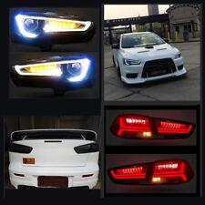 LED Blackout Headlights + Smoked Tail Lights For Mitsubishi Lancer EVO X 08-17